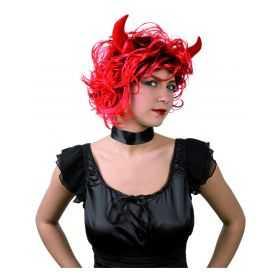 Perruque cheveux courts Rouges avec Cornes