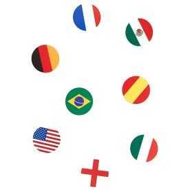 Confettis de table drapeaux de plusieurs pays