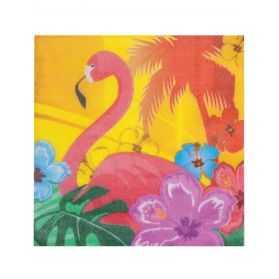 12 Serviettes Flamant Tropic en papier 33 x 33 cm