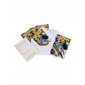 6 Cartons d'invitation avec enveloppes Batman 10 x 16 cm