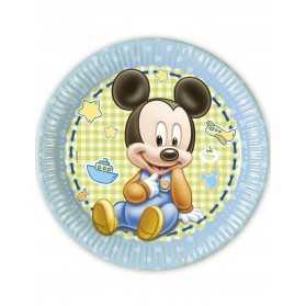 8 Assiettes carton Bébé Mickey 23 cm
