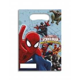 6 Sacs cadeaux Spiderman Web-Warriors 16,5 x 23 cm