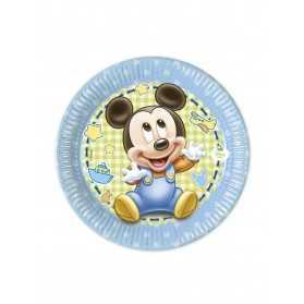 8 Petites assiettes Bébé Mickey 20 cm