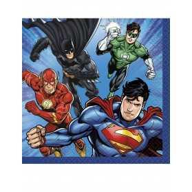 16 Petites serviettes en papier Justice League 25 x 25 cm