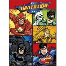 8 Cartes d'invitation et enveloppes Justice League