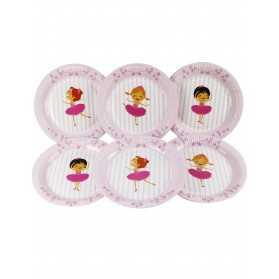 6 Assiettes en carton ballerines 23 cm