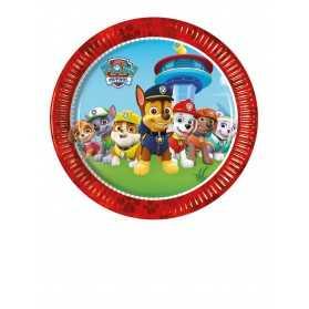 8 Petites assiettes en carton rouges Pat 'Patrouille 20 cm