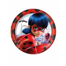 8 Petites assiettes en carton Miraculous Ladybug 20 cm