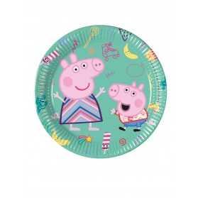 8 Petites assiettes en carton Peppa Pig 20 cm