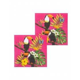 12 Serviettes en papier toucan fuchsia 33 x 33 cm