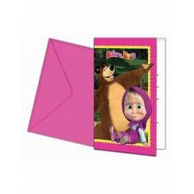 6 Cartes d'invitation + enveloppes Masha et Michka