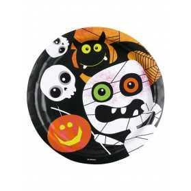 8 Assiettes en carton Petits monstres Halloween