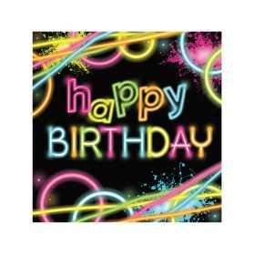 16 Petites serviettes en papier Happy birthday glow party 16 x 16 cm