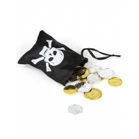 Besace de pirate et pièces de trésor