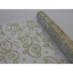 Chemin de table organza doré arabesques pailletées 28 cm x 5 m