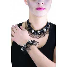 Collier et bracelet dentelle avec téte de mort Halloween
