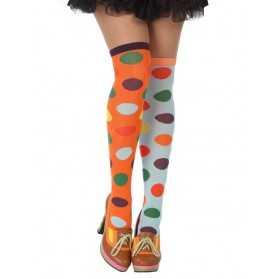 Bas à pois multicolores clown femme