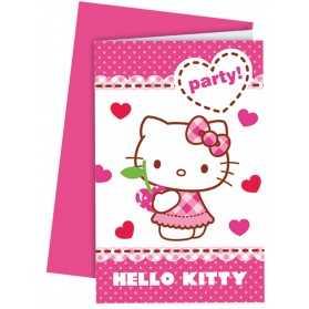 6 Cartes d'invitation avec enveloppes Hello Kitty
