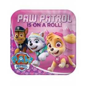 8 Assiettes en carton 23 cm rose Pat 'Patrouille