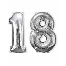 Lot de 2 ballons aluminium chiffre argent 18