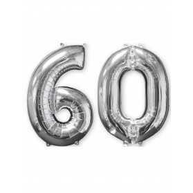 Lot de 2 ballons aluminium 66 cm chiffre argent 60