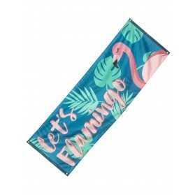 Bannière Let's Flamingo Flamant Tropic en tissu 74 x 220 cm