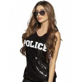 Débardeur police sequins noir femme