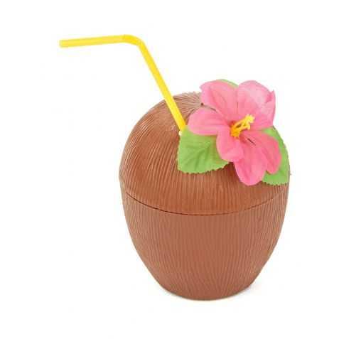 Noix de Coco avec Fleur et Paille