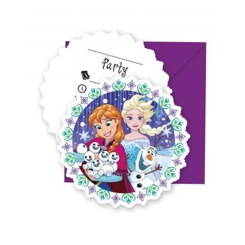 6 cartes invitation Reine des neiges avec enveloppe