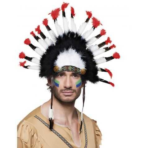 Coiffe de Chef Indien avec plumes à pointes rouges