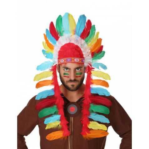 Coiffe de Chef Indien à plumes multicolores