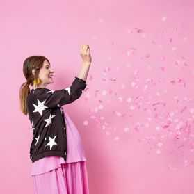 Ballon géant avec confettis Roses à l'intérieur