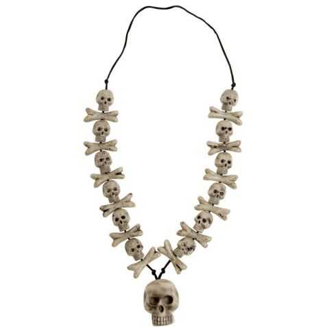 Collier avec têtes de mort et os de squelette