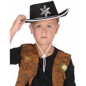 Chapeau Noir de Shérif Enfant