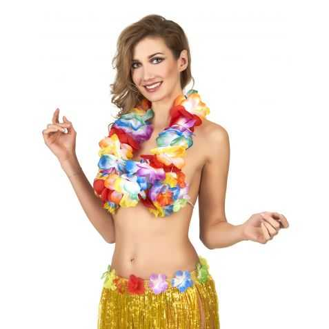 Collier Hawaïen avec des fleurs en tissu
