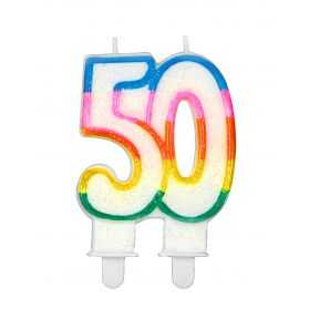 Bougie d'anniversaire 50 ans avec Chiffre 50