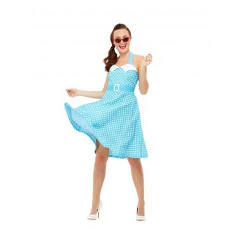 robe bleue à pois blancs