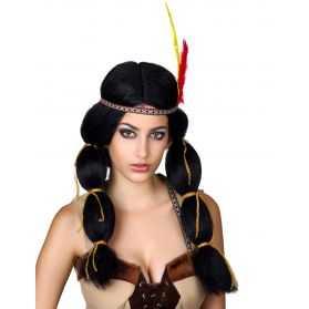 Perruque de Cheyenne avec 2 tresses indiennes