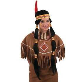 Perruque d'Indienne avec cheveux longs noirs et 2 tresses