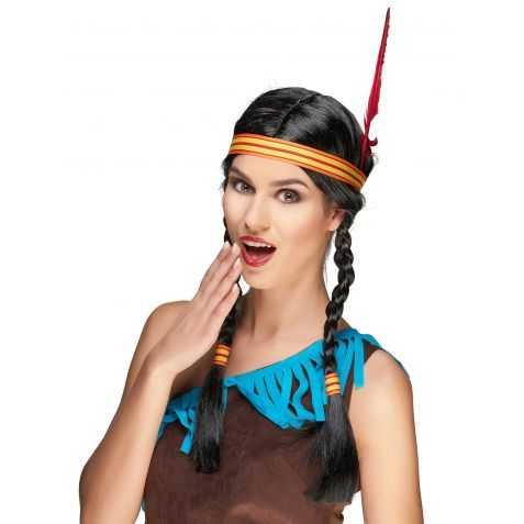 Perruque Indienne avec bandeau plume