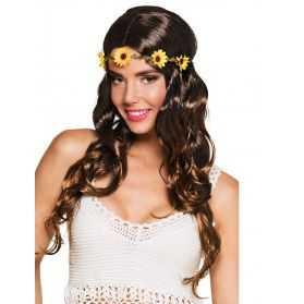 Perruque déguisement hippie avec bandeau