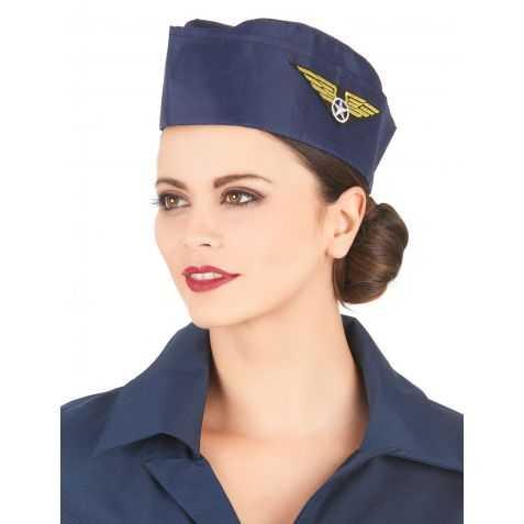 Calot Hôtesse de l'Air (joli sourire) de couleur bleu