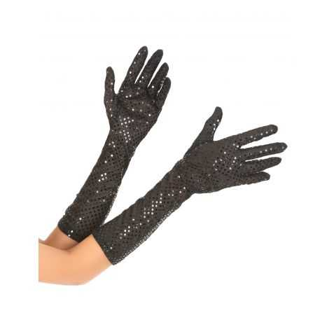 Gants noirs pailletés