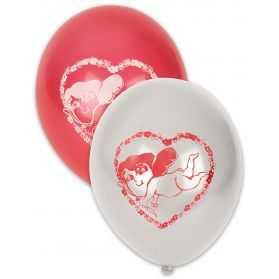 10 Ballons avec imprimés Coeurs Blancs/Rouges