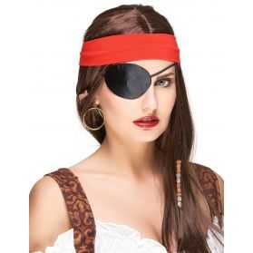 Cache oeil de Pirate en satin Noir