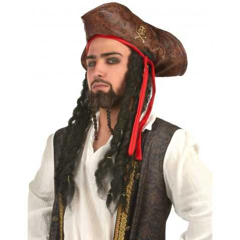Chapeau de Pirate en simili cuir Marron avec cheveux