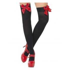 Bas noirs autofixants avec Noeud Rouge danseuse de cabaret Taille unique