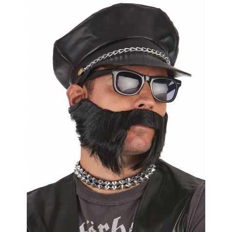 Casquette noire de Rocker avec chaine