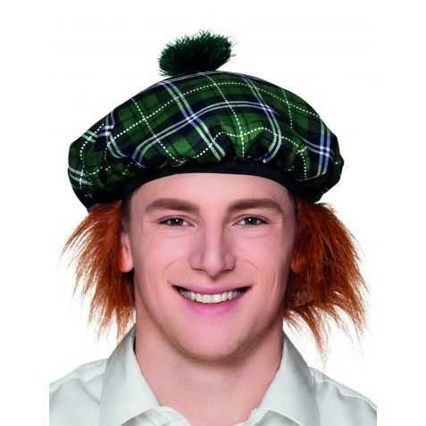 Bonnet Ecossais avec cheveux Roux