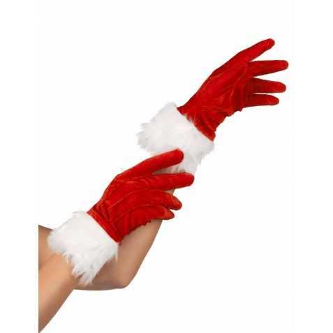Paire de Gants Miss Santa Claus rouges et blancs